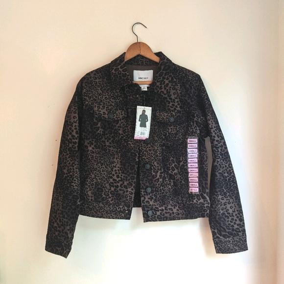 Nine West Sarah Denim Jean Jacket leopard print